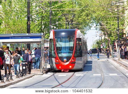 modern Tram On Sultanahmet District.