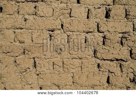 Wall Of Old Adobe House Closeup