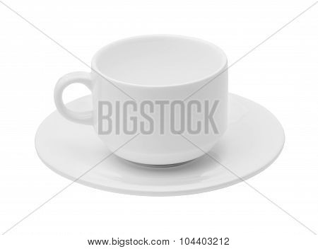 Empty white ceramic coffee or tea cup
