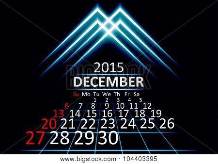 December 2015 calendar dark technology 3d style abstrat background. Vector Illustration.