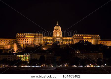 The Buda Castle of Budapest, Hungary at night