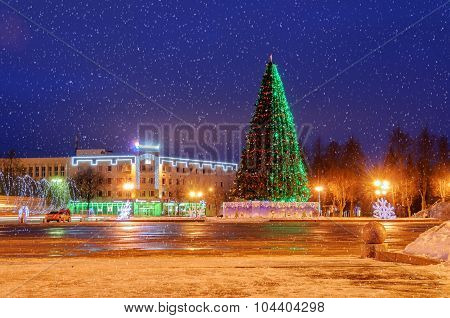 Sofia Square During The New Year Holidays in Veliky Novgorod, Russia