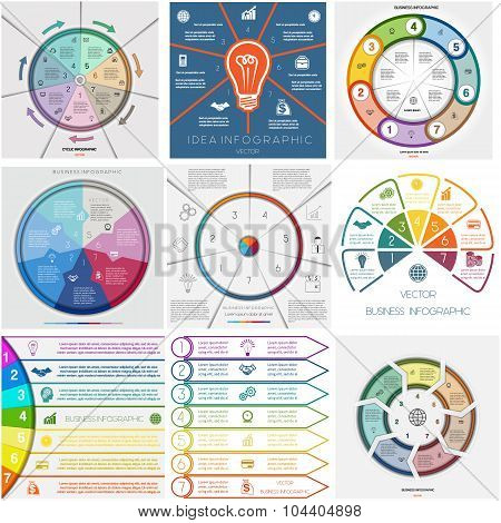 Set 9 Templates Infographics Cyclic Processes. Seven Positions