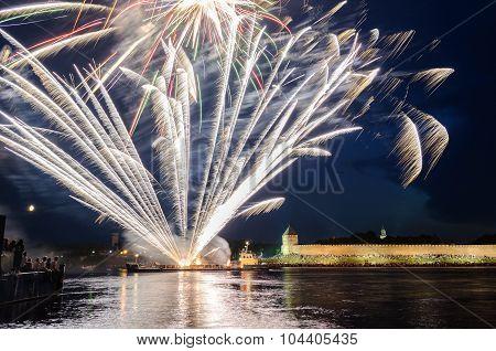 VELIKY NOVGOROD, RUSSIA - JUNE 12, 2011. Fireworks in the Novgorod Kremlin on the celebration of the first Russian Hanseatic days in Veliky Novgorod, Russia