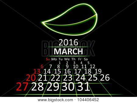 March 2016 calendar dark technology 3d style abstrat background. Vector Illustration.