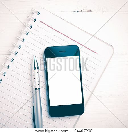 Notepad And Cellphone Vintage Style