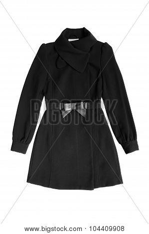Women black coat isolated on white