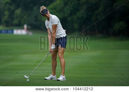KUALA LUMPUR, MALAYSIA - OCTOBER 09, 2015: USA's Ryan O'Toole plays her shot on the sixth hole fairway of the KL Golf & Country Club at the 2015 Sime Darby LPGA Malaysia golf tournament.