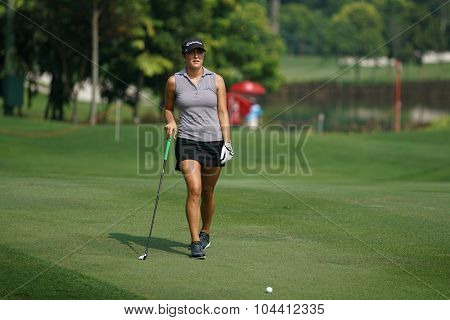 KUALA LUMPUR, MALAYSIA - OCTOBER 09, 2015: USA's Jaye Marie Green plays from 6th hole fairway of the Kuala Lumpur Golf & Country Club at the 2015 Sime Darby LPGA Malaysia golf tournament.