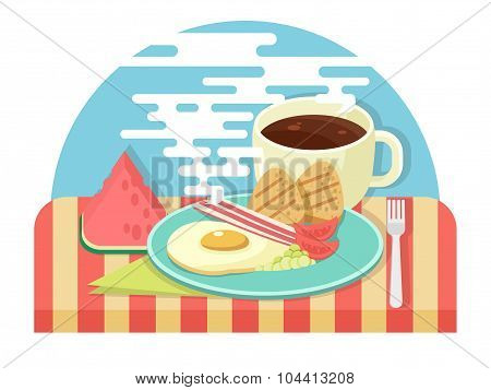 Fresh breakfast and a cup of hot coffee