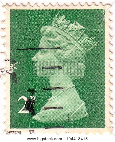 Uk-circa 1971:postage Stamp Printed In United Kingdom Shows Queen Of England - Queen Elizabeth Ii. P