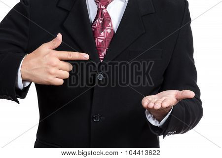 Businessman Promotes An Imaginary Object
