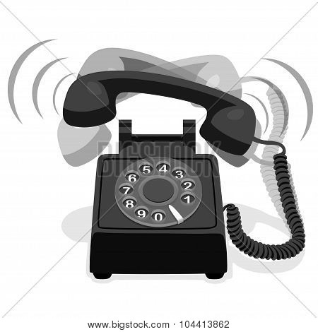 Ringing Black Stationary Phone With Rotary Dial