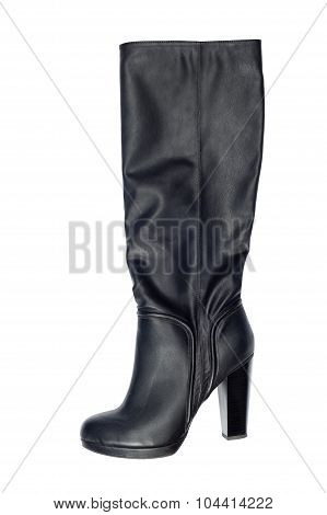 Black boot on a white background