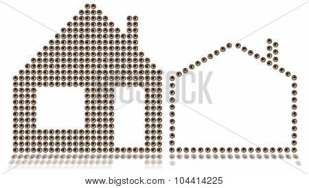 House Symbol - Screws Isolated On White