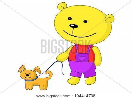 Teddy bear walks with a dog