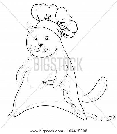 Cat with sausage, contour