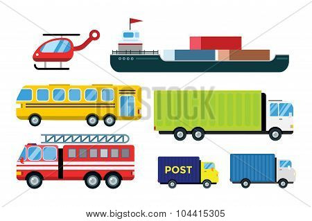 Transport delivery vector trucks isolated on white