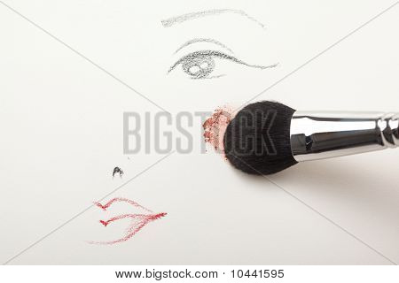 A Make-up Sketch, With A Blush Brush Applying Blush To The Cheek