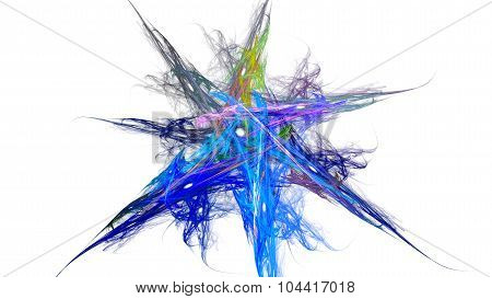 Colorful seven-pointed star. Drawing a watercolor brush.