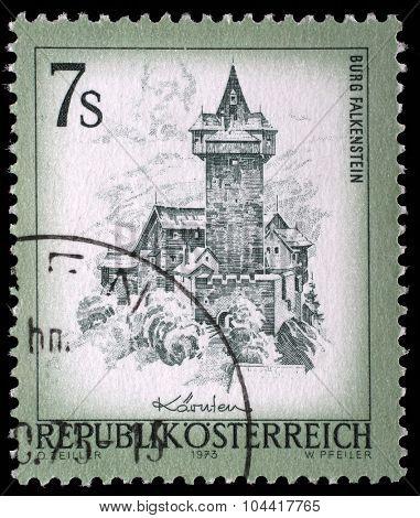 AUSTRIA - CIRCA 1973: A stamp printed in Austria shows Burg Falkenstein, from the series Sights in Austria, circa 1973