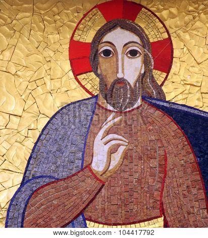 RIJEKA, CROATIA - MAY 06: Jesus, mosaic, Chapel in monastery of the Sisters of Charity of St. Vincent de Paul in Rijeka, Croatia on May 06, 2013