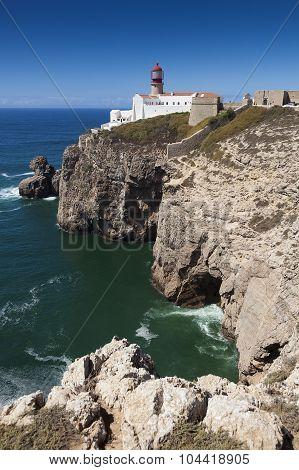 Lighthouse At Cabo De Sao Vicente, Sagres, Algarve, Portugal