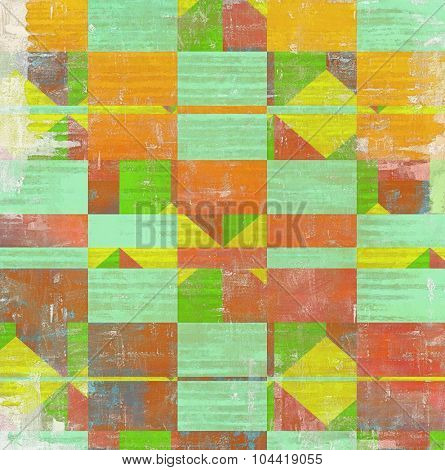 Old, grunge background texture. With different color patterns: yellow (beige); green; red (orange); cyan
