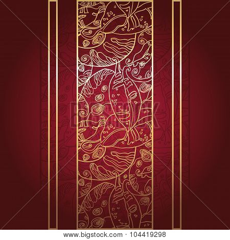 Golden lace ornament on deep red background.