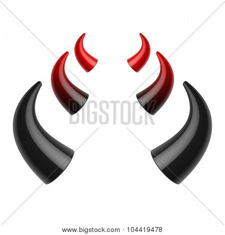 Red and black devil horns. Vector.