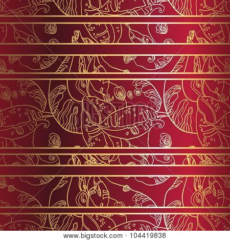 Golden laceornament on deep red background. Seamless pattern