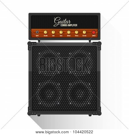 Vector Flat Style Electric Guitar Combo Amplifier Cabinet Illustration Icon.