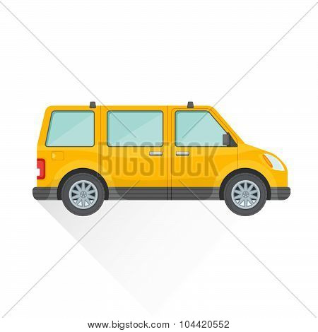 Vector Flat Yellow Van Car Body Style Illustration Icon.