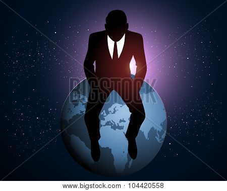 Businessman Sitting On A Earth