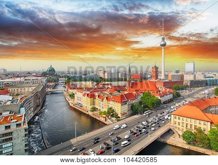 Skyline Of Berlin In Sunset