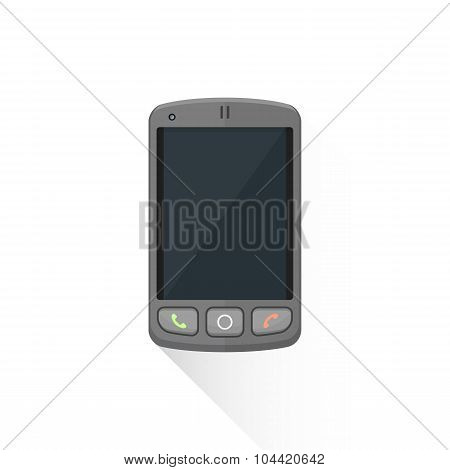 Vector Flat Style Dark Buttons Sensor Smart Phone Illustration Icon.