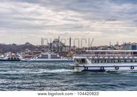 Ferry Traffic On The Bosphorus