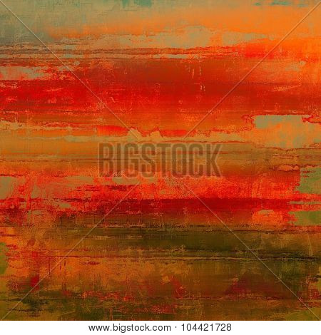 Weathered and distressed grunge background with different color patterns: brown; green; red (orange); gray