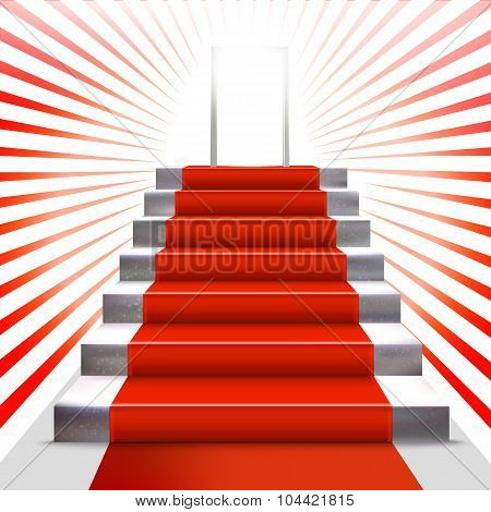 Ceremony Invitation With Ladder And Red Carpet