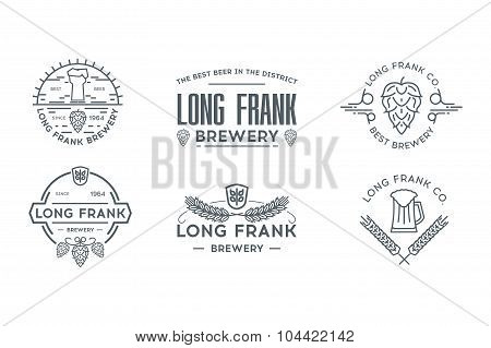 Beer line logo template. Stock vector.