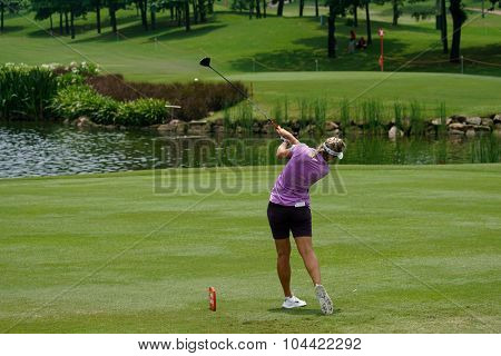 KUALA LUMPUR, MALAYSIA - OCTOBER 09, 2015: Norway's Suzann Pettersen tee off the 3th hole of the KL Golf & Country Club at the 2015 Sime Darby LPGA Malaysia golf tournament.