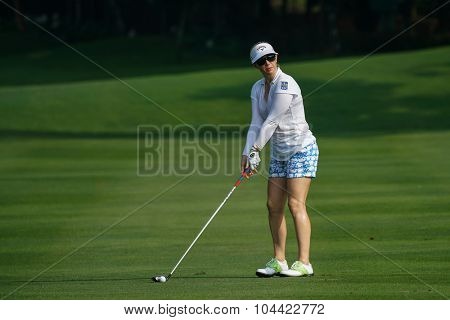 KUALA LUMPUR, MALAYSIA - OCTOBER 09, 2015: USA's Morgan Pressel plays from the 6th hole fairway at the KL Golf & Country Club at the 2015 Sime Darby LPGA Malaysia golf tournament.