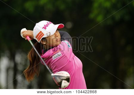 KUALA LUMPUR, MALAYSIA - OCTOBER 10, 2015: Thailand's Pornanong Phatlum tees off at the sixth hole of the KL Golf & Country Club on Round 3 day at the 2015 Sime Darby LPGA Malaysia golf tournament.