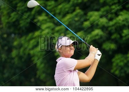 KUALA LUMPUR, MALAYSIA - OCTOBER 10, 2015: Sweden's Anna Nordqvist tees off at the sixth hole of the KL Golf & Country Club on Round 3 day at the 2015 Sime Darby LPGA Malaysia golf tournament.