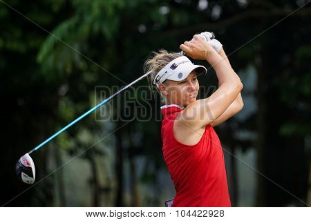 KUALA LUMPUR, MALAYSIA - OCTOBER 10, 2015: USA's Ryan O'Toole tees off at the sixth hole of the KL Golf & Country Club on Round 3 day at the 2015 Sime Darby LPGA Malaysia golf tournament.