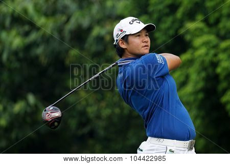 KUALA LUMPUR, MALAYSIA - OCTOBER 10, 2015: Taiwan's Yani Tseng tees off at the sixth hole of the KL Golf & Country Club on Round 3 day at the 2015 Sime Darby LPGA Malaysia golf tournament.