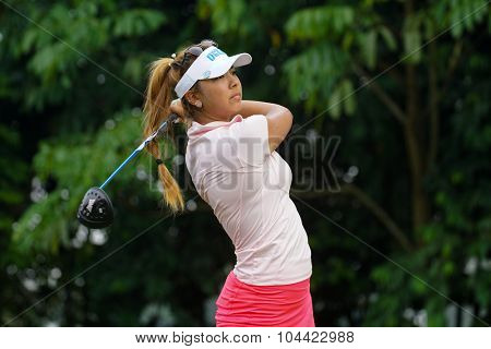 KUALA LUMPUR, MALAYSIA - OCTOBER 10, 2015: USA's Alison Lee tees off at the sixth hole of the KL Golf & Country Club on Round 3 day at the 2015 Sime Darby LPGA Malaysia golf tournament.