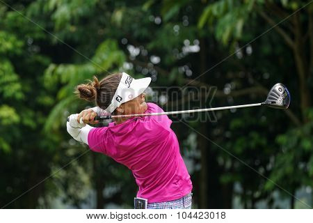 KUALA LUMPUR, MALAYSIA - OCTOBER 10, 2015: Colombia's Mariajo Uribe tees off at the sixth hole of the KL Golf & Country Club on Round 3 day at the 2015 Sime Darby LPGA Malaysia golf tournament.