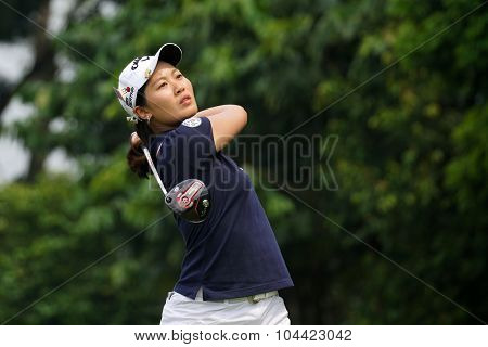 KUALA LUMPUR, MALAYSIA - OCTOBER 10, 2015: China's Xi Yu Lin tees off at the sixth hole of the KL Golf & Country Club on Round 3 day at the 2015 Sime Darby LPGA Malaysia golf tournament.