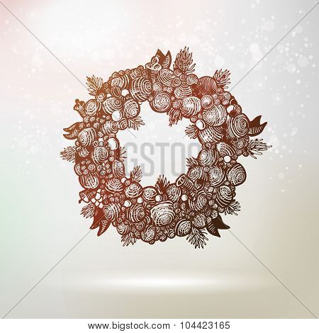 Dark Hand Drawn Gravure Xmas Wreath Illustration